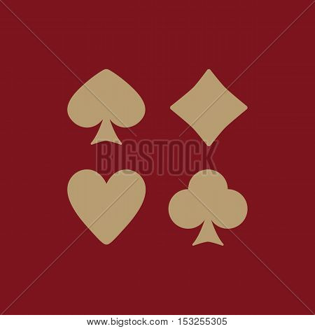 The Playing Card Suit icon. Playing Card Suit symbol. Flat Vector illustration. Set