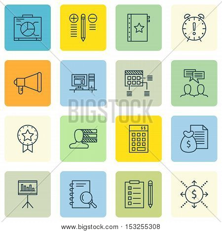 Set Of Project Management Icons On Report, Reminder And Presentation Topics. Editable Vector Illustr
