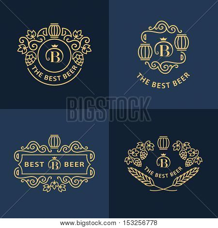 Line graphics monograms. Logo design. Flourishes frame ornament template with barrel hops and leaves for labels emblems for beer house bar pub brewing company brewery tavern. Vector set