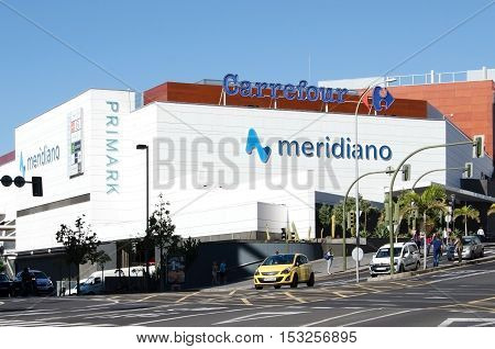 Santa Cruz de Tenerife Canary Islands SPAIN Shopping center Meridiano Carrefour. June 2 2016 This is one of the biggest shopping center in Tenerife with a wide range of specialty stores and restaurants