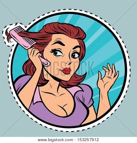 Comic young woman combing hair comb, pop art retro comic book illustration. sticker label form