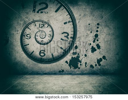 infinite time concept. twisted clock face on cracked concrete wall
