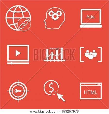 Set Of Marketing Icons On Keyword Optimisation, Ppc And Keyword Marketing Topics. Editable Vector Il