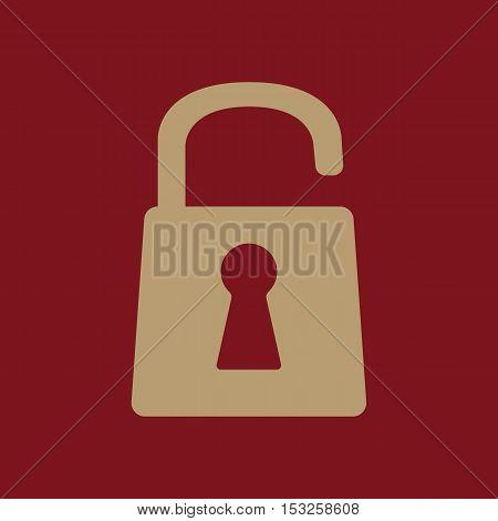 The open lock icon. Lock symbol. Flat Vector illustration
