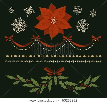 Christmas decorations, borders, garland, elements. Hand-drawn illustration.