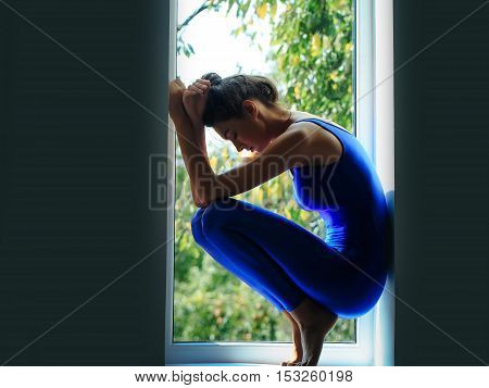 Pretty Sexy Sporty Woman On Window