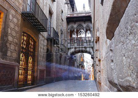 Barri Gotic Quarter Of Barcelona, Spain