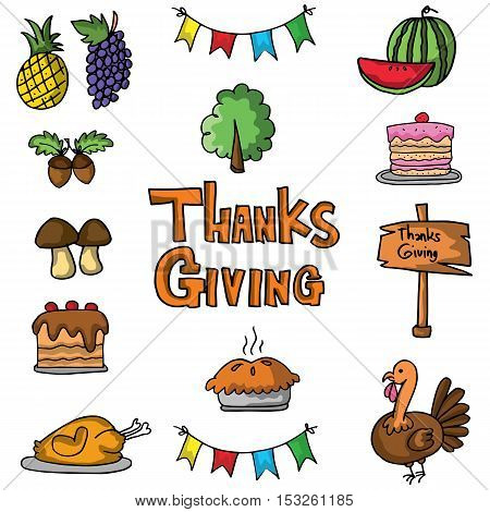 Element thanksgiving stock on doodles vector illustration