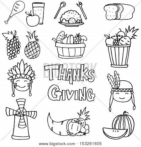 Stock collection thanksgiving on doodles vector art