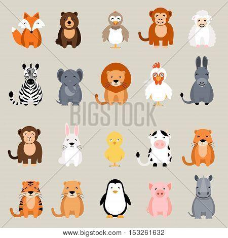 Cute vector animal set. Fox, bear, elephant, bear, hen, chicken, chick, rooster, lion, monkey, tiger, pig, donkey, rabbit, rhino, cow, zebra, sheep, penguin