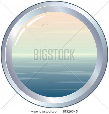 vector Porthole with seascape
