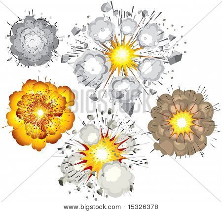 Collection of various vector explosions-detonation of bomb,fuel,dynamite,gas,eruption