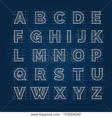 Blueprint vector drafting alphabet. Blueprint sketch roman font on dark background