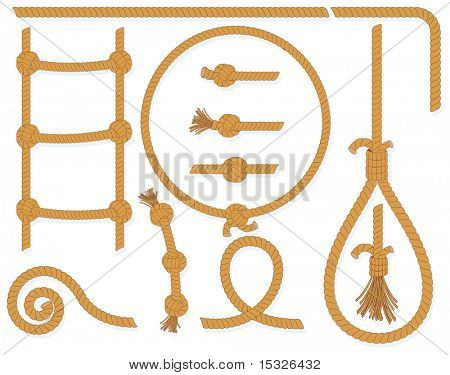 Vector twisted rope collection- isolated  design elements:gallows, ladder, cable, lasso, knots, loop, spiral etc..MORE ROPES SEE AT MY GALLERY