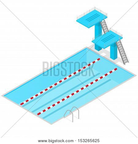 Swimming Pool Isometric View Indoors. Sport Springboard for Competition Vector illustration