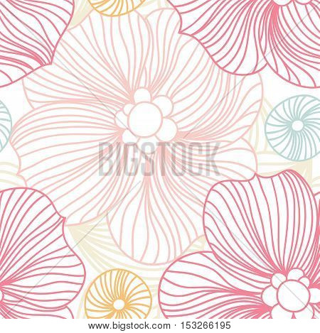 Pink Lace. Seamless pattern. Pink pattern. Pink flowers. Beautiful retro seamless pattern, vintage texture. Stylized flowers. Flower background. Pastel pattern. Flower shop. Bright buds. Big Bud.