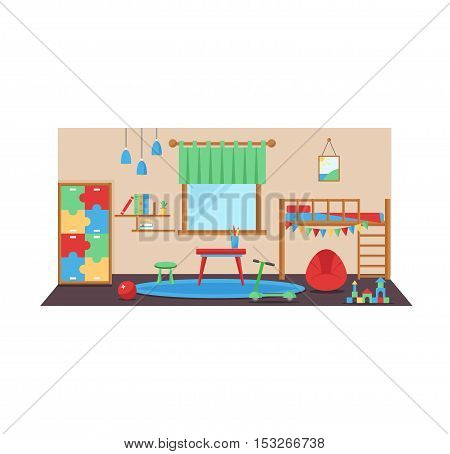 Horizontal view of cozy baby room decor. Cozy children bedroom interior with furniture and toys. Baby room with furniture furniture design infant. Nursery childhood interior boy baby room.