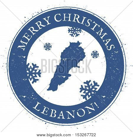 Lebanon Map. Vintage Merry Christmas Lebanon Stamp. Stylised Rubber Stamp With County Map And Merry