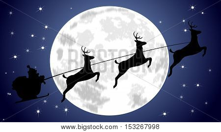 Santa Claus driving his sleigh in front of a full moon - illustration
