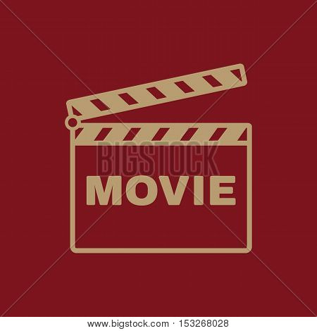 The clapper board icon. Movie symbol. Flat Vector illustration.