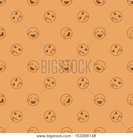 Emoticon seamless pattern in color background. Vector emoji seamless illustration for webdesign and polygraphy. Emotions on color background for design.