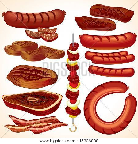 Meal set #4: detailed vector BBQ collection-clip-art of Steak, Kebab, Hamburger, Sausages, Hot-dog, Bacon, Bratwurst, Roast beef, Cutlet.. SIMILAR IMAGES SEE AT MY GALLERY