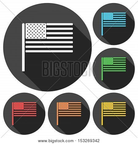 USA (American) flag icons set with long shadow