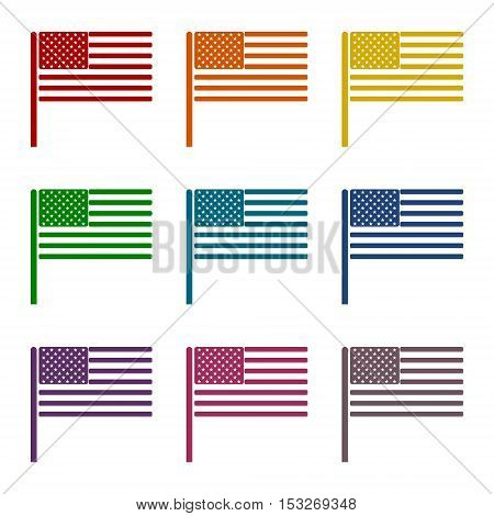 USA (American) flag icons set on white background