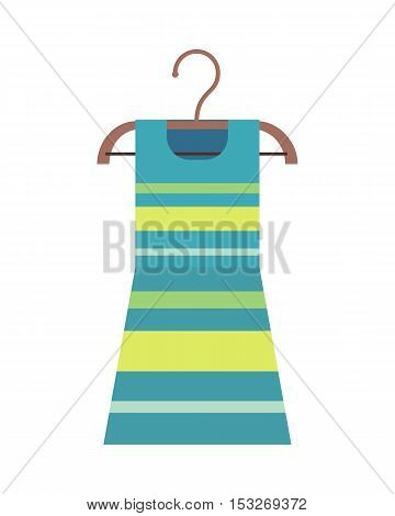 Beautiful striped female dress on a wooden hanger. Striped female cocktail party dress. Striped summer dress on hanger. Isolated object on white background. Vector illustration.