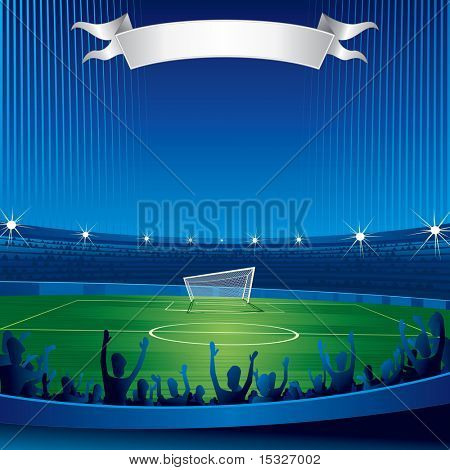 Soccer stadium with fans-background for your text