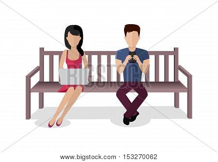 Internet addiction concept vector. Flat design. Man and woman seating on bench with computer and  mobile phone. People online communication picture for infographics, web design. Isolated on white.