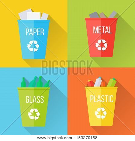 Color recycle garbage bins with paper, glass, plastic, metal. Reuse or reduce symbol with long shadow. Plastic recycle trash can. Trash can icon in flat. Waste recycling. Environmental protection poster