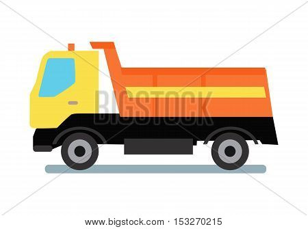 Delivery tipper truck transportation. Tipper with yellow cabin and orange vehicle. Cargo truck. Tipper dumper business truck transportation sand. Vector illustration in flat style design.