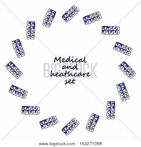 Healthcare and medicine. Vector doodle circle frame. Medical hand drawn icons.