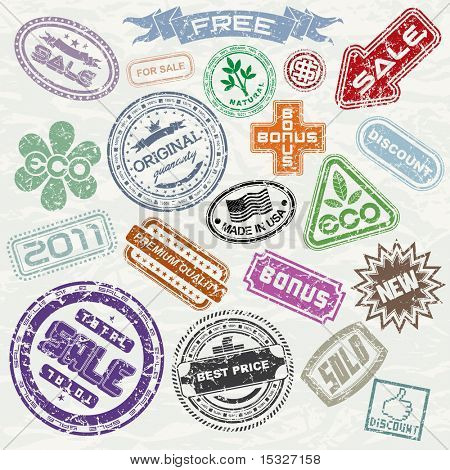 Abstract vintage sale stamp collection - ready for your original design project
