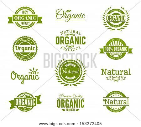 100% organic logo. Collection of healthy organic food labels logos badges and signs for identity and packaging of natural organic premium quality products. Vector set.