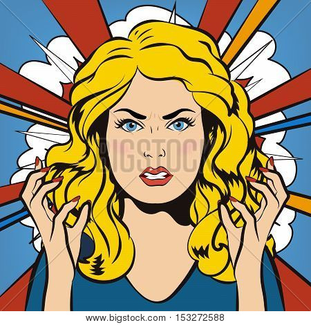 Angry Woman. Young furious Girl. Negative Emotions. Bad Days. Bad Mood. Stressful Woman. Comic Background. Pop Art Banner. Vector cartoon illustration.