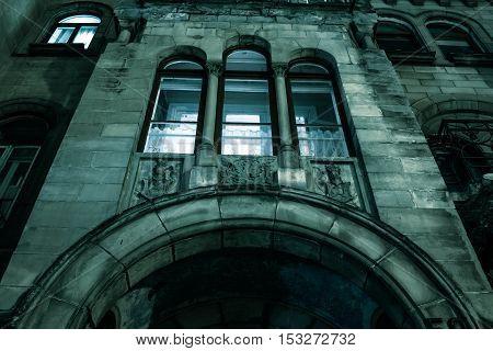 Spooky dark castle house hallowen with dark gate