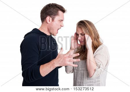 Man Yelling At His Woman And Looking Very Mad