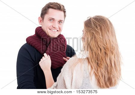 Woman Holding Man's Autumn Casual Comforter