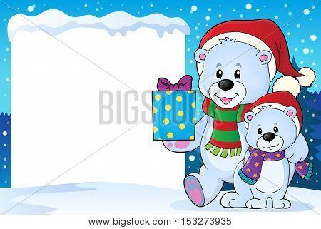 Snowy frame with Christmas bears - eps10 vector illustration.