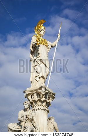 An image of the Athena Statue in front of the Parliament in Vienna Austria