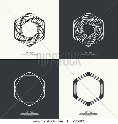Set Abstract background with intersecting geometric shapes. Hexagon geometry. Badge, monogram, banner. Black and White. shutter
