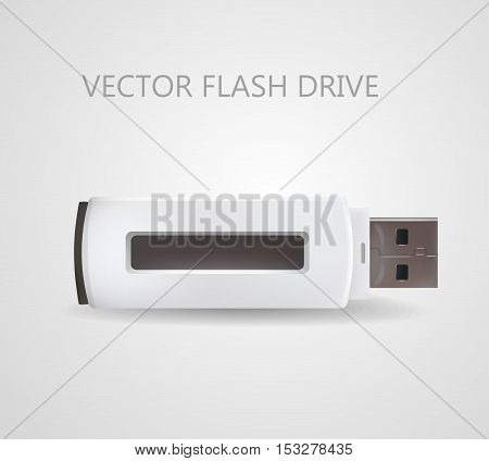 Flash drive USB in white color. Vector isolated illustration
