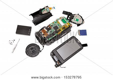 Disassembled compact camcorder. Close-up. Isolated on white background.