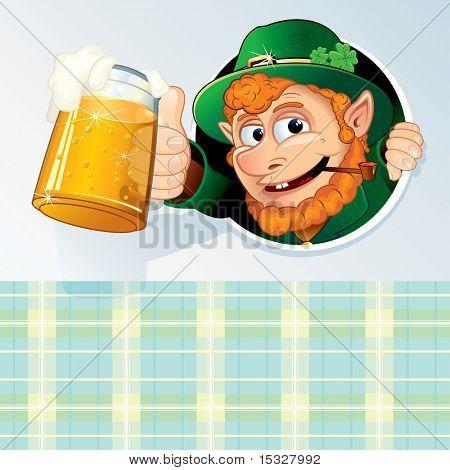 Glücklich St Patricks Day Background - Glückwunsch-Karte mit lustigen Cartoon Leprechaun und Raum für