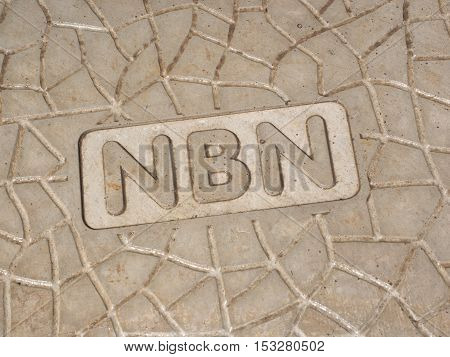 Melbourne Australia - October 22 2016: NBN wording on a new roadside pit of the Australian National Broadband Network hybrid coaxial fiber network augmentation.