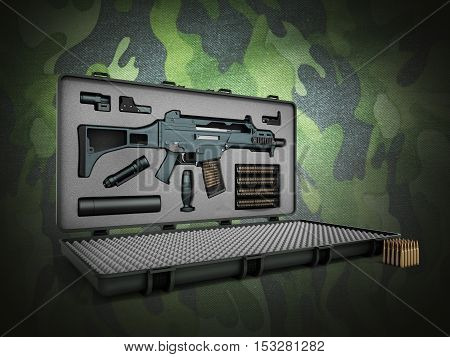 Gun In The Briefcase 3D Render On A Color Background