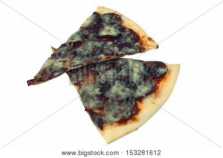 Moldy slices of cheese pizza close-up isolated on white background