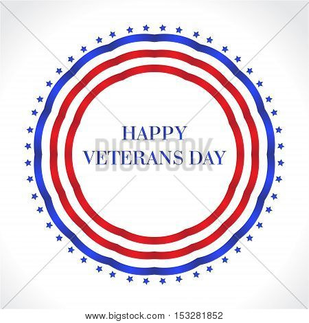 Happy Veterans Day. American Flag Happy Veterans Day greeting card. U.S.A flag. Vector illustration